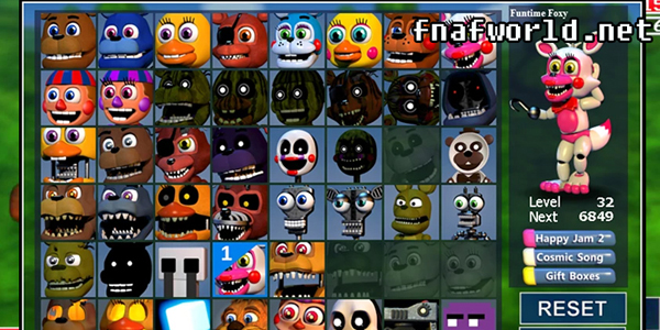 fnaf world Two difficulty levels